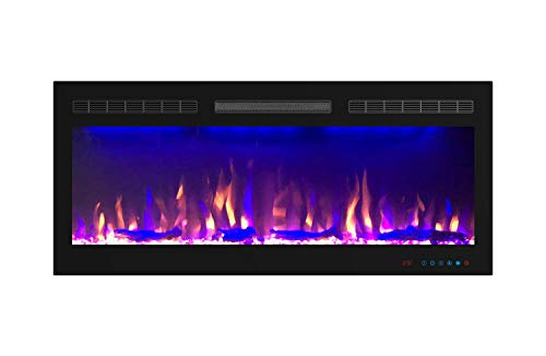 Mystflame Slim Electric Fireplace | 40 inch Wide | in-Wall Recessed & Wall Mounted | Multicolor Flame | Log & Crystal Hearth | 750/1500W Thermostat | Remote Control & Touch Screen | Timer