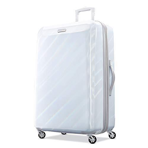 American Tourister Moonlight Hardside Expandable Luggage with Spinner Wheels, Iridescent White, Checked-Large 28-Inch