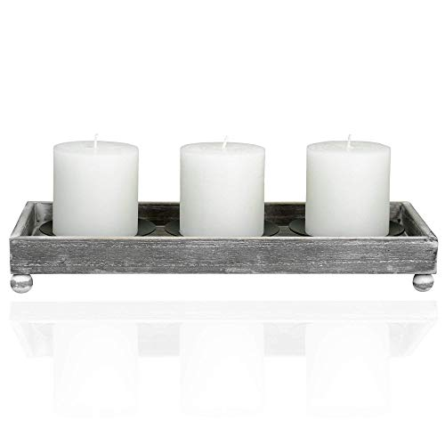 TERRA HOME Candle Holder Centerpiece - Vintage Look Centerpieces for Dining Room Table, Coffee Table Decor - Decorative Candle Centerpiece with Rustic Wooden Tray and Metal Plate Candle Holders