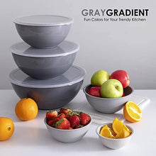 Load image into Gallery viewer, Cook with Color Plastic Mixing Bowls with Lids - 12 Piece Nesting Bowls Set includes 6 Prep Bowls and 6 Lids, Microwave Safe Mixing Bowl Set (Gray Ombre)