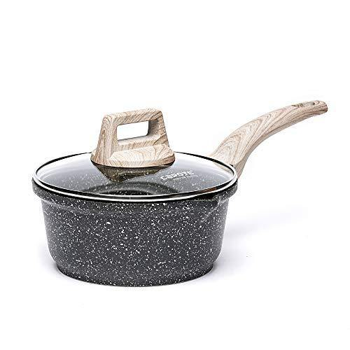 Carote 1-Quart Sauce Pan with Glass Lid,Soup Pot Nonstick Saucepan Granite Coating from Switzerland