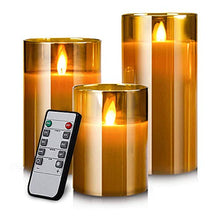 Load image into Gallery viewer, Led Flameless Candles, Battery Operated Flickering Candles Pillar Real Wax Moving Flame Electric Candle Sets Gold Glass Effect with Remote Timer, 4 in, 5 in, 6 in, Pack of 3
