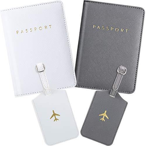 2 Pieces Passport Covers and 2 Pieces Luggage Tags, Passport Holder Travel Suitcase Tag (White, Gray)