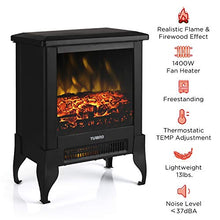 "Load image into Gallery viewer, TURBRO Suburbs TS17 Compact Electric Fireplace Stove, Freestanding Stove Heater with Realistic Flame - CSA Certified - Overheating Safety Protection - for Small Spaces - 18"" 1400W"