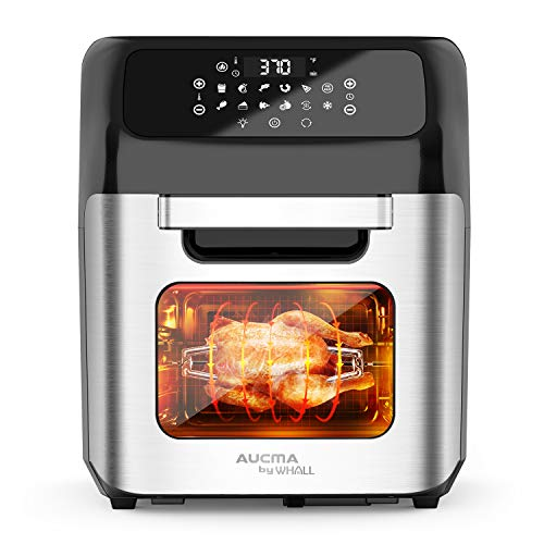 whall Air Fryer, 13QT Air Fryer Oven, Family Rotisserie Oven, 1700W Electric Air Fryer Toaster Oven, Tilt led Digital Touchscreen, 12-in-1 Presets for Baking, Roasting, Dehydrating, with Accessories