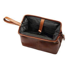 Load image into Gallery viewer, Toiletry Bag Hanging, Travel Organizer, Shower Dopp kit, for Men and Women in Full Grain Leather, from AULIV (Tan)