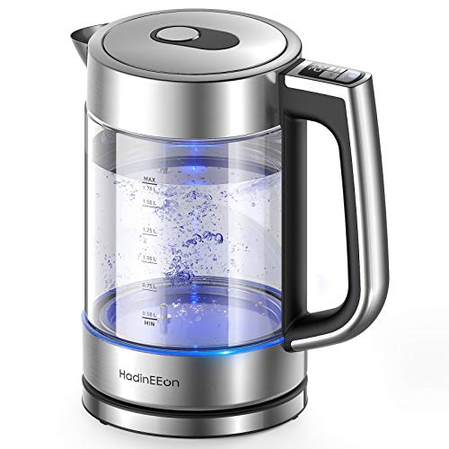 HadinEEon Electric Kettle, Variable Temperature Tea Kettle 1.7L, 1500W Fast Boil Glass Water Kettle w/ 1Hr Keep Warm Function, Premium Stainless Steel BPA-Free Electric Tea Kettle, Boil-Dry Protection