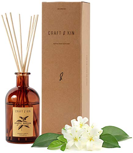 Reed Diffuser Sticks 'Orange Blossom & Lotus Scent' Set, includes 8 Rattan Scented Sticks Diffuser Reeds, All-Natural Essential Oil & Amber Glass (5.75oz) | Provides Constant Fragrance