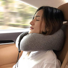 Load image into Gallery viewer, MLVOC Travel Pillow 100% Pure Memory Foam Neck Pillow, Comfortable & Breathable Cover, Machine Washable, Airplane Travel Kit with 3D Contoured Eye Masks, Earplugs, and Luxury Bag, Standard, Gray