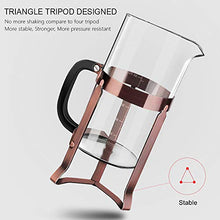 Load image into Gallery viewer, Upgraded French Press Coffee Maker Stainless Steel 34 oz, Coffee Press with Stainless Steel Stand Precise Scale Easy to Clean Durable Heat Resistant Glass Black/Copper/Silver