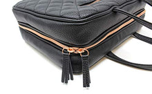 Load image into Gallery viewer, Leather Toiletry Travel Bag for Women - Large Cosmetic Size with 4 Pockets - Rose Gold Hardware and Satin Interior - Black