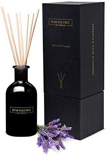 Benevolence LA Reed Diffusers for Home | Lavender & Eucalyptus Fragrance Diffuser | Aromatherapy Scented Oil Reed Diffuser Set | Sticks Diffuser