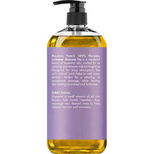 Load image into Gallery viewer, MAJESTIC PURE Lavender Massage Oil for Men and Women - Great for Calming, Soothing and to Relax - Blend of Natural Oils for Therapeutic Massaging and Aromatherapy - 8 fl oz.