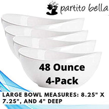 Load image into Gallery viewer, Partito Bella 48 Ounce Serving Bowls, Large Bowl Set of 4, Porcelain Cereal Bowls for Soup, Salad, and Cereal, White