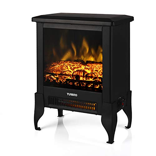 TURBRO Suburbs TS17 Compact Electric Fireplace Stove, Freestanding Stove Heater with Realistic Flame - CSA Certified - Overheating Safety Protection - for Small Spaces - 18