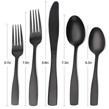 Load image into Gallery viewer, Matte Black Silverware Set, 20-Piece Stainless Steel Flatware Set, Tableware Cutlery Set Service for 4, Utensils for Kitchens, Dishwasher Safe
