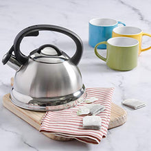 Load image into Gallery viewer, Mr. Coffee Flintshire Stainless Steel Whistling Tea Kettle, 1.75-Quart, Brushed Satin