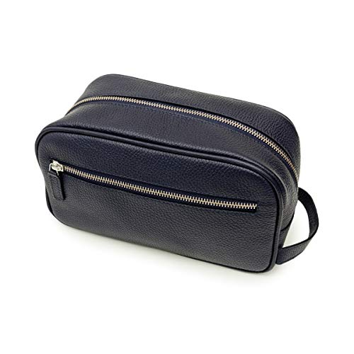 Maruse Italian Leather Toiletry Travel Bag with 2 Zippered Closures for Men and Women, Handmade in Italy, Navy