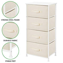 Load image into Gallery viewer, mDesign Vertical Dresser Storage Tower - Sturdy Steel Frame, Wood Top, Easy Pull Fabric Bins - Organizer Unit for Bedroom, Hallway, Entryway, Closets - Textured Print, 4 Drawers - Cream/White