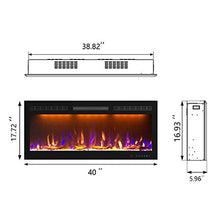 Load image into Gallery viewer, Mystflame Slim Electric Fireplace | 40 inch Wide | in-Wall Recessed & Wall Mounted | Multicolor Flame | Log & Crystal Hearth | 750/1500W Thermostat | Remote Control & Touch Screen | Timer