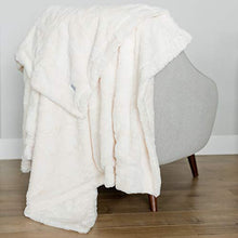 "Load image into Gallery viewer, Softest Warm Elegant Cozy Faux Fur Home Throw Blanket by Graced Soft Luxuries (Solid Ivory, Large 50"" x 60"")"