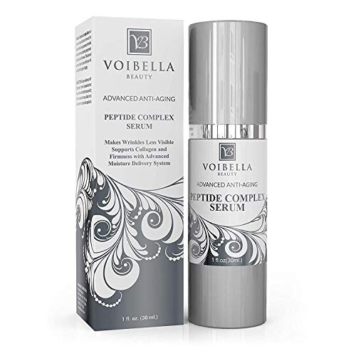 Peptide Complex Serum & Collagen Support For Face - Best Natural & Organic Anti Aging Skin Serum - Peptides, Hyaluronic Acid, Amino Acids & Vitamin E for Wrinkles, Hydrating, Firming & Elasticity