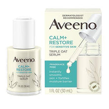 Load image into Gallery viewer, Aveeno Calm + Restore Triple Oat Hydrating Face Serum for Sensitive Skin, Gentle and Lightweight Facial Serum to Smooth and Fortify Skin, Hypoallergenic, Fragrance- and Paraben-Free, 1 fl. oz