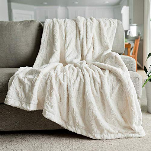 Softest Warm Elegant Cozy Faux Fur Home Throw Blanket by Graced Soft Luxuries (Solid Ivory, Large 50