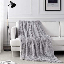 "Load image into Gallery viewer, junovo Super Soft Shaggy Longfur Faux Fur Blanket, Fuzzy Throw Blanket for Bed, Fluffy Cozy Plush Light Blanket, Washable Warm Furry Throw Blanket for Couch Sofa Chair Home Decor, 50""x60"" Sliver Grey"