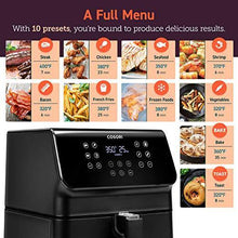 Load image into Gallery viewer, COSORI Air Fryer, Large XL 5.8 Quart 1700-Watt Oven & Oilless Cooker with Cookbook(100 Recipes) LED Digital Tilt One-Touchscreen with Preheat, Customizable 10 Presets & Shake Reminder, 5.8QT, Black