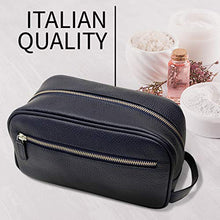 Load image into Gallery viewer, Maruse Italian Leather Toiletry Travel Bag with 2 Zippered Closures for Men and Women, Handmade in Italy, Navy