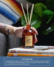 Load image into Gallery viewer, Reed Diffuser Sticks 'Orange Blossom & Lotus Scent' Set, includes 8 Rattan Scented Sticks Diffuser Reeds, All-Natural Essential Oil & Amber Glass (5.75oz) | Provides Constant Fragrance