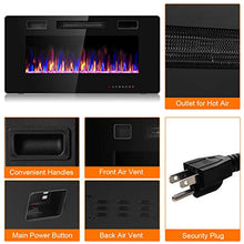 Load image into Gallery viewer, Tangkula 36 Inches Recessed Electric Fireplace, in-Wall & Wall Mounted Electric Heater with Adjustable Flame Color & Speed, Remote Control, Touch Screen, 750-1500W (36 Inches)