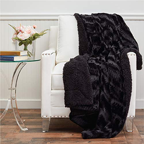 The Connecticut Home Company Faux Fur with Sherpa Reversible Throw Blanket, Many Colors, Super Soft, Large Plush Luxury Blankets, Warm Hypoallergenic Washable Couch or Bed Throws, 65x50, Black