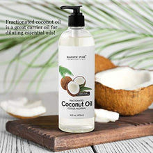 Load image into Gallery viewer, Majestic Pure Fractionated Coconut Oil, For Aromatherapy Relaxing Massage, Carrier Oil for Diluting Essential Oils, Hair & Skin Care Benefits, Moisturizer & Softener - 16 Ounces (Packaging May Vary)