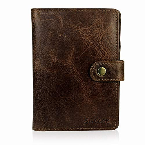 Succor Genuine Leather Passport & Card Holder for Men & Women with RFID Protection - Passport Case - Brown