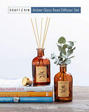 Load image into Gallery viewer, Reed Diffuser Sticks 'Oud Wood Scent' Set, includes 8 Rattan Scented Sticks Diffuser Reeds, All-Natural Essential Oil & Elegant Amber Glass Vase (5.75oz) | Provides Constant Fragrance