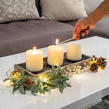Load image into Gallery viewer, TERRA HOME Candle Holder Centerpiece - Vintage Look Centerpieces for Dining Room Table, Coffee Table Decor - Decorative Candle Centerpiece with Rustic Wooden Tray and Metal Plate Candle Holders