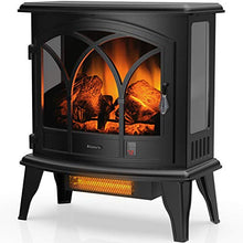 "Load image into Gallery viewer, TURBRO Suburbs TS23-C Electric Fireplace Infrared Heater with Curved Door- Freestanding Fireplace Stove with Adjustable Flame Effects, Overheating Protection, Timer, Remote Control - 23"" 1400W Black"
