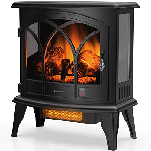 TURBRO Suburbs TS23-C Electric Fireplace Infrared Heater with Curved Door- Freestanding Fireplace Stove with Adjustable Flame Effects, Overheating Protection, Timer, Remote Control - 23