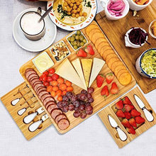 Load image into Gallery viewer, Cheese Board and Knife Set, Bamboo Charcuterie Boards Large Extra Meat Charcuttery Platter Serving Tray for Housewarming Thanksgiving Personalized Holiday Christmas Birthday Wedding Party Gifts Ideas
