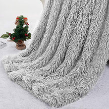 "Load image into Gallery viewer, Pacapet Soft Fuzzy Throw Blanket for Couch, Shaggy Sherpa Fleece Blanket for Bed, Washable & Lightweight, Fluffy Faux Fur Blanket for Bedroom, Sofa, Home Decor, 50""x60"", Light Gery"