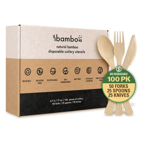 Natural Bamboo Utensils 100 Set (Forks,Spoons,Knives)