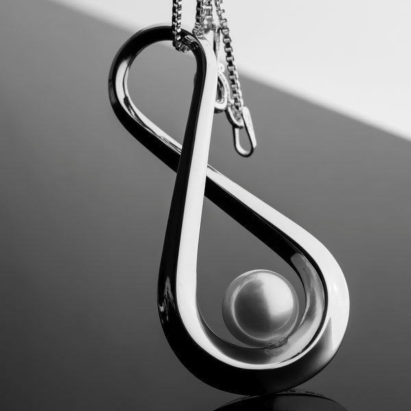 Infinity Series Handcrafted Japanese Jewelry Pendant Necklace Sterling Silver Matte Akoya Pearl hk+np Studio