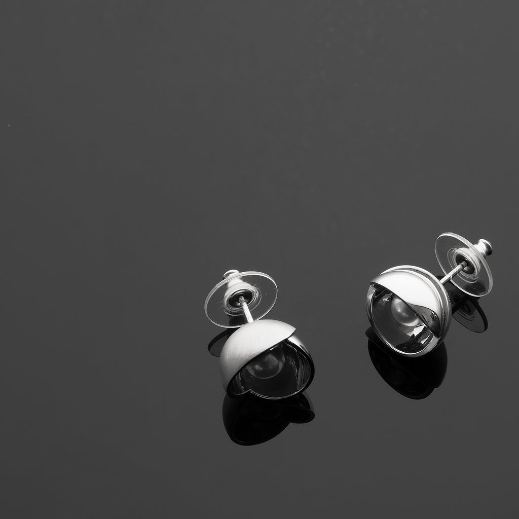 Petal Series Handcrafted Japanese Jewelry Minimalist Earrings Sterling Silver Akoya Pearl hk+np Studio