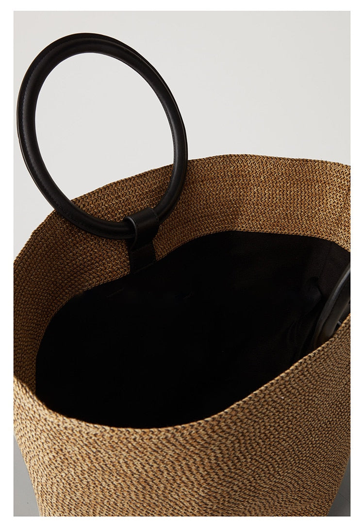 Luca Solid Color Straw Bag