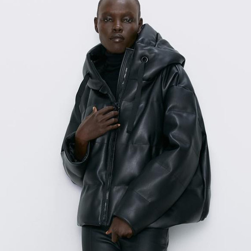 Sabylla Hooded Faux Leather Parka