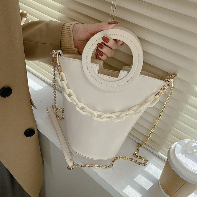 Mally Vintage Chain Tote Bucket Bag