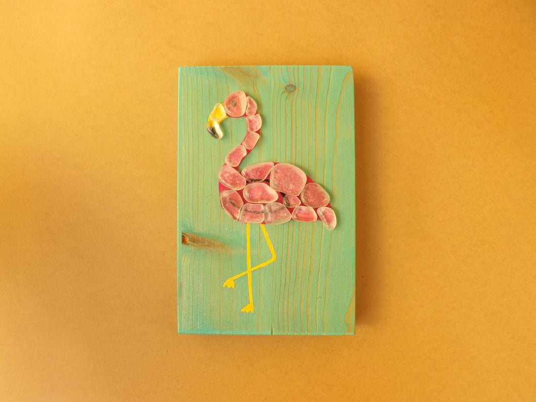Flamingo Mosaic Wood Block RTG
