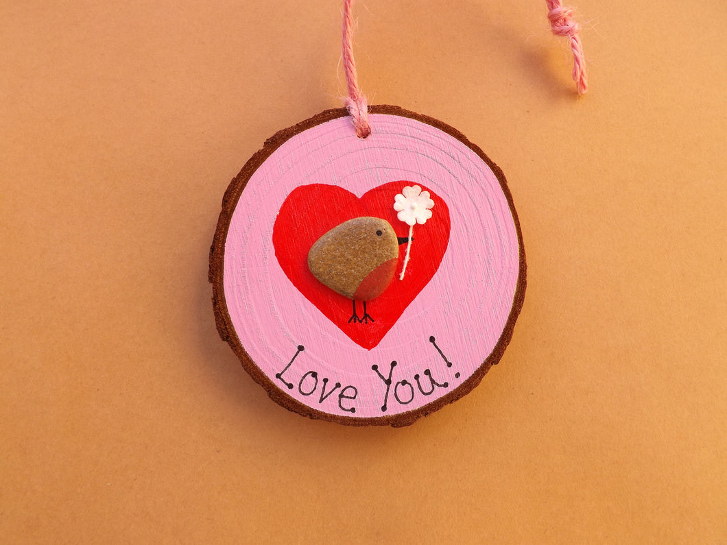 Love You Birdie Valentine's Wood Slice MTO